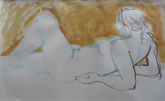 Nude in blue and gold , watercolour pencil and wash, 2010
