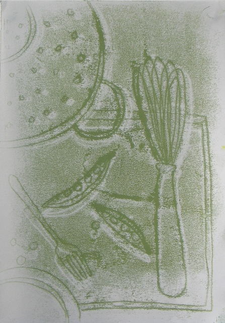 Pea Pods , unique monotype, 2013