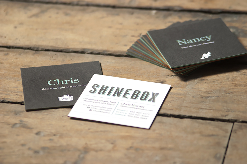Letterpress | Shinebox Business Cards — Angel Bomb