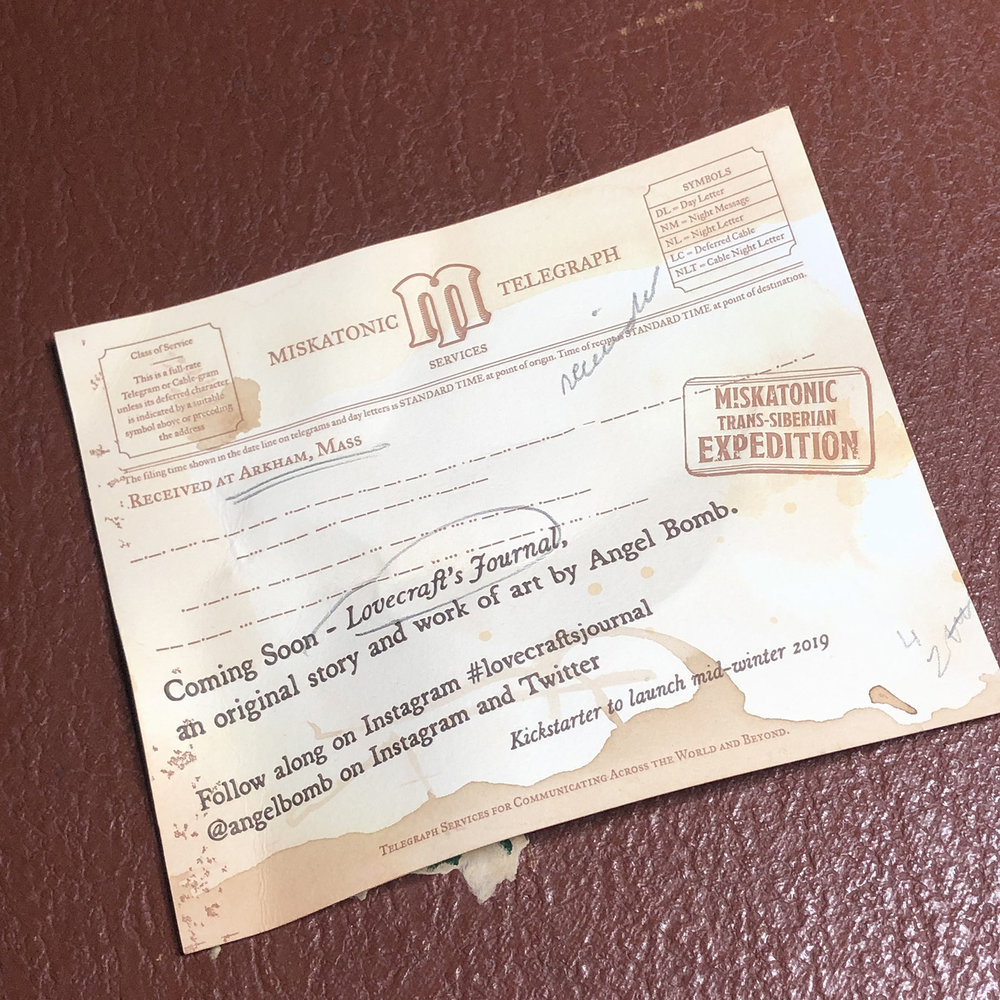 A telegram from the book, printed for Art Attack 2018.