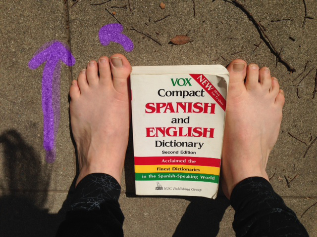 Here, my heels separate slightly from the book, the front and insides of my feet contact the book, and the outsides of my feet are pretty close to parallel.  This is my optimal stance.  (I also could use a pedicure.)  Can you see how my left big toe deviates slightly to the left?
