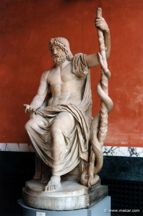 Asclepius, greek god of medicine, demonstrating a not-ideal movement pattern for long term spine health...the slouch!