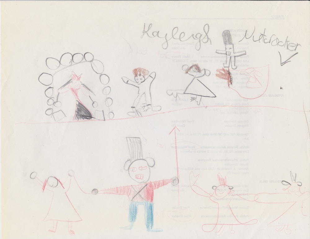 Believe it or not, this is a drawing I did, circa 1992 (age of 6 here, folks).  I remember going to see the Nutcracker and then being asked to draw pictures of what I saw.  Children often love to draw characters from performances, songs, shows, etc., so invite them to draw things related to what you're working on!  Draw Mozart!  Draw a violin!  This is both a spatial intelligence project and can be a verbal/linguistic, if you ask them to write and respond as well.