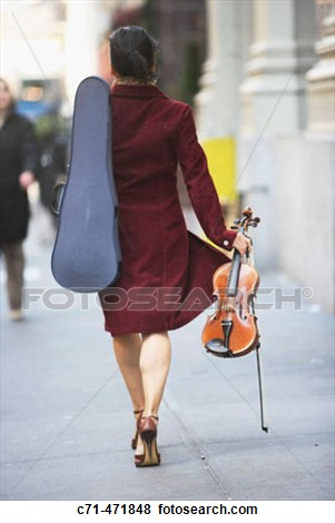The great thing about stock photos is that they're ridiculous.  Who walks down the street in heels carrying their case on one shoulder and violin in the other arm?  No one.  But her left levator scap is working to keep that case up there!
