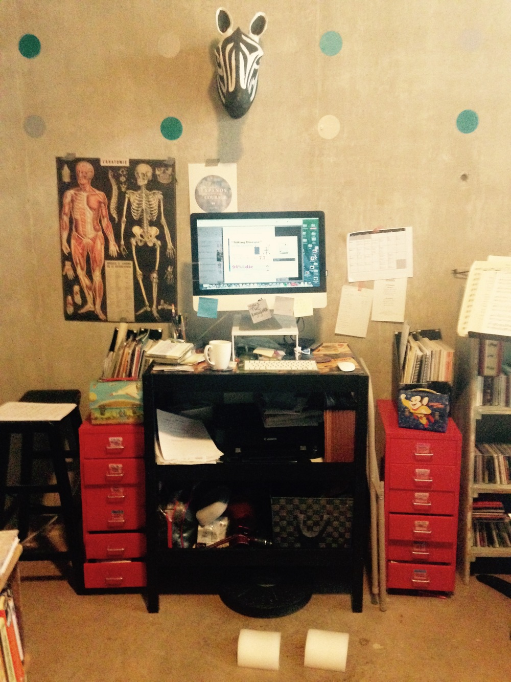 Complete with two half domes for stretching my calves, I love my standing desk.