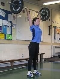 Here's the rib thrust again in overhead activities- not great for athletes using weights!