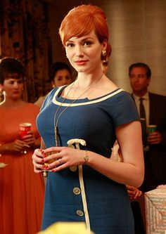 Here's Joanfrom Mad Men giving us the subtle hint of rib thrust- most people are told to bring the shoulders back and chest forward, which is how we've ended up with this postural cue.  She's definitely wearing high heels as well!