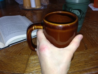 4/28/13  I can get my hand onto my favorite coffee mug, but can't yet pick it up!