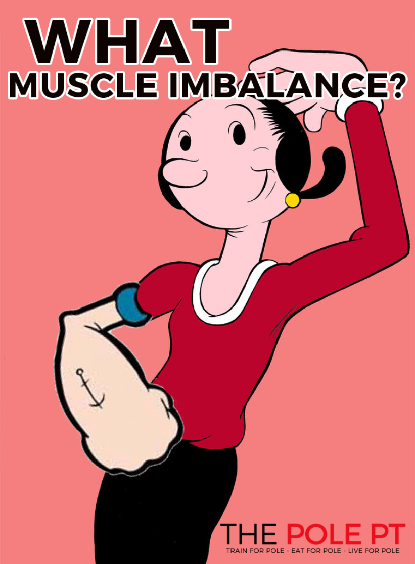 I sort of love this picture focusing on the more aesthetic side of muscle imbalances- most imbalances won't be this obvious! Image from Pole PT.