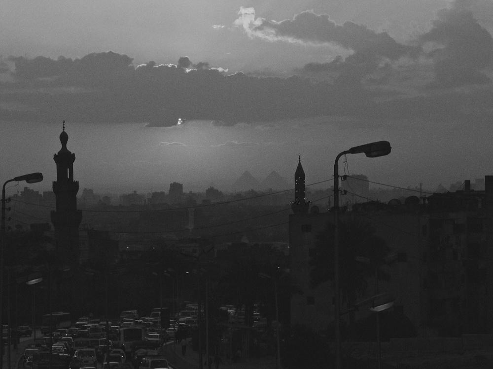 Minarets, Pyramids,Cars