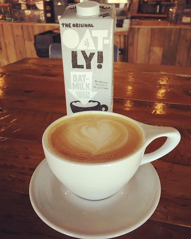 """New year, new dairy alternative!  We now carry the 100% vegan @oatly oat """"milk."""" We still carry and love soy, coconut and almond, but this stuff is truly tasty in a cappuccino or latte.  Brave the cold and check it out. ⛄️ ☕️ #totallyoatly #veganlove #❤️"""