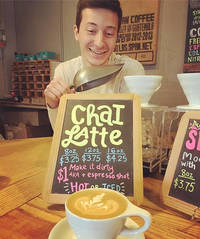 """We now have chai!  We found a great organic chai with a pleasant spice to it.  Try it as a latte or get """"dirty"""" by adding a shot of espresso! (Luke not included). It's a sunny Sunday, stop down! ☀️ #chai #sundayfunday"""