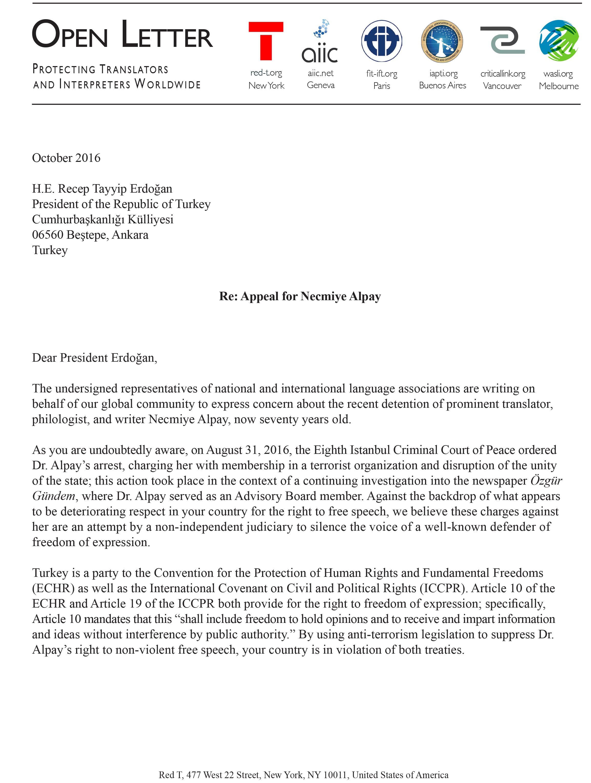 Open Letter on behalf of Necmiye Alpay page 1