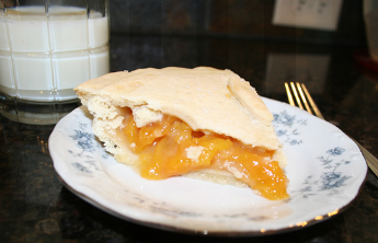 Yummy peach pie and milk.  Heaven........