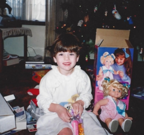 Julianna showing off her new doll that Santa had brought her....circa 1991 or 1992.