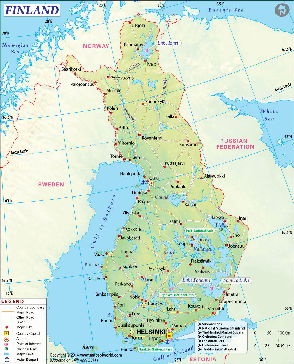 Kuusamo is located south of the Arctic Circle in the eastern part of Finland, adjacent to the Russian Federation.