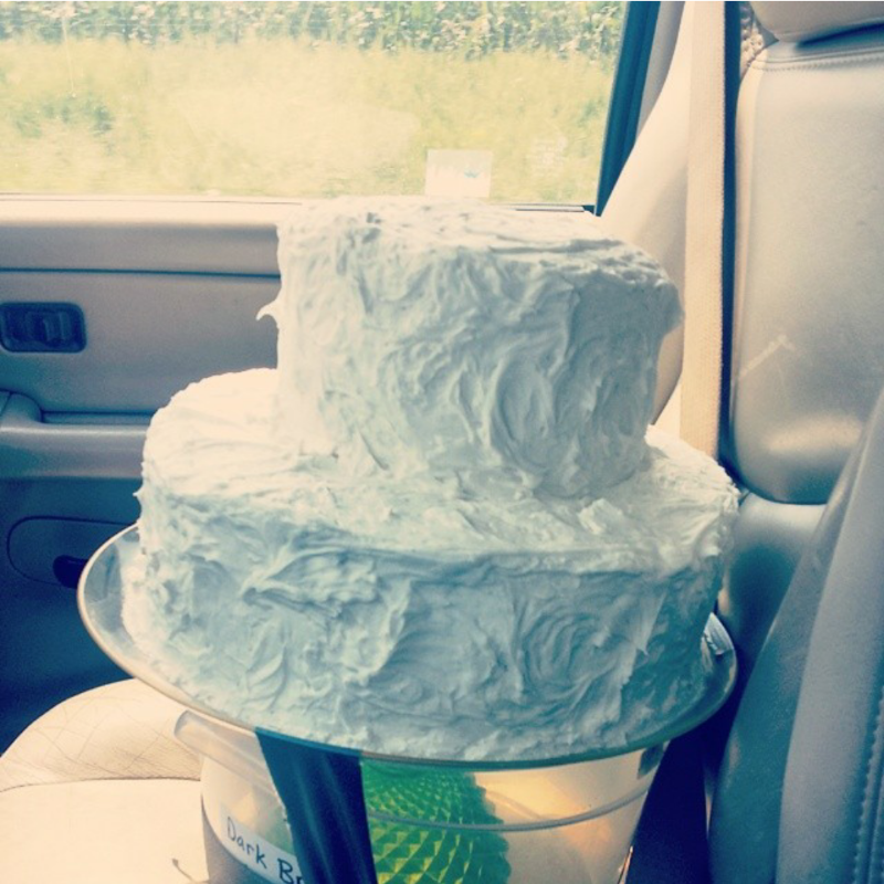 This isn't Sara & Greg's cake, but when we have to deliver alone we get pretty creative. And yes, that is duct tape.
