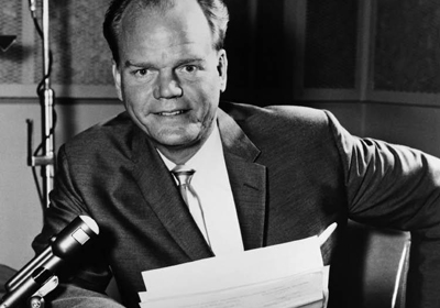 Paul Harvey, (1918-2009) about to go on the radio.