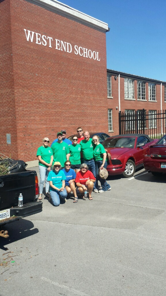 One group of volunteers did clean-up and yard work at the West End School