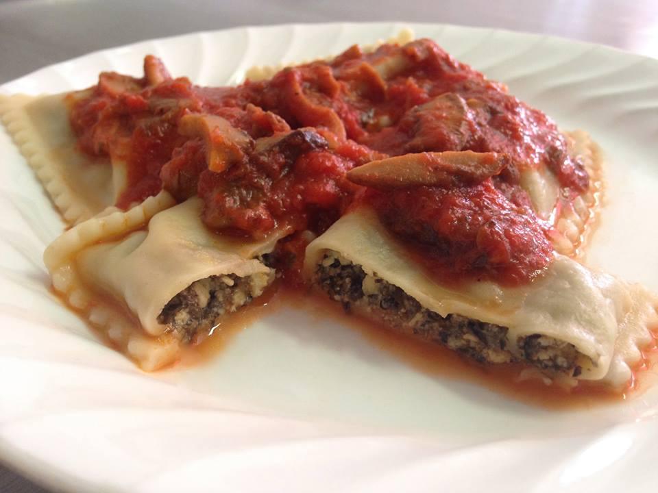Our Vegan Porcini Mushroom Ravioli.