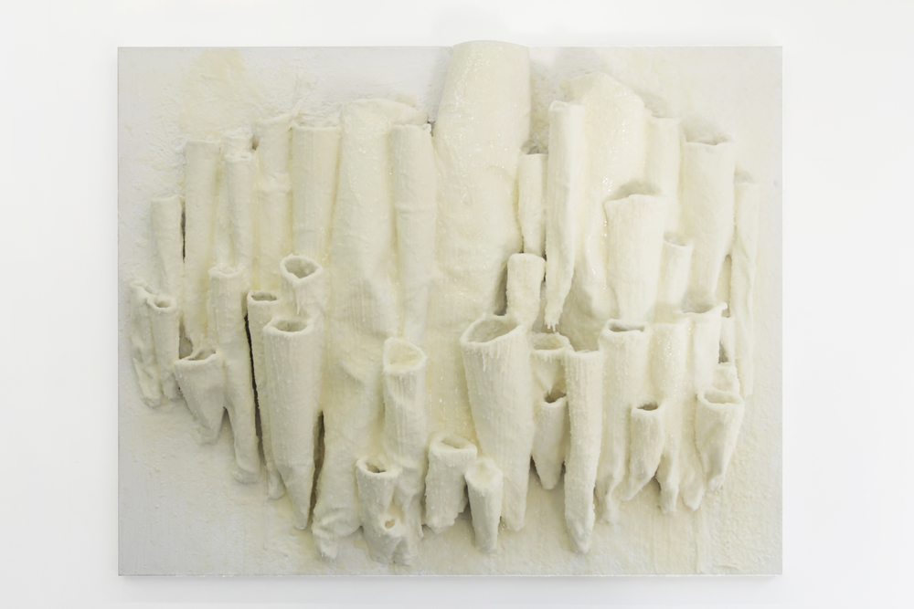 Roz Stone Morris,  Mud Daubers and Honey , Beeswax, resin, plaster, plaster cloth, glue, wire, resin and acrylic on canvas, 2014