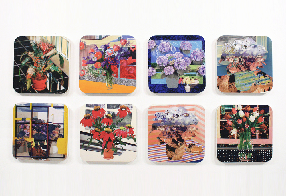 "White Flower Farm #1-8, 2010  oil, galkyd, enamel, ink jet print, on panel  23.5 "" x 23.5 """