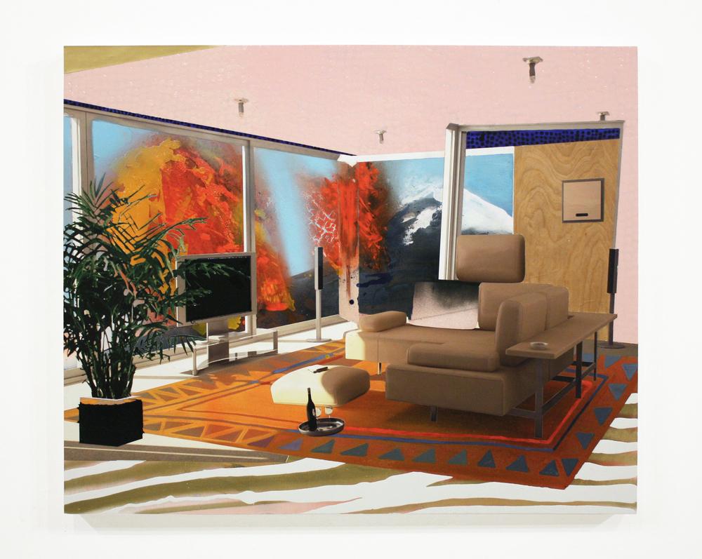 "Lava Life 2, 2010  oil galkyd enamel, spray paint, ink jet print, on panel  35 "" x 43 """