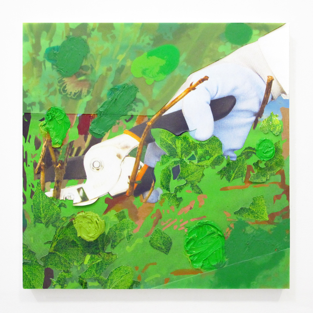 "Gardening Glove #6, 2013  oil, plastic, ink jet print, on panel   18 "" x 18 """