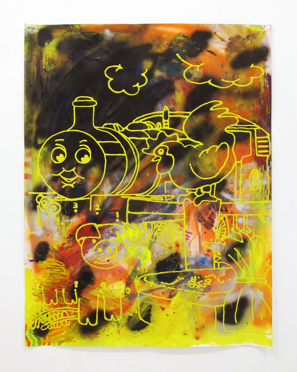 "Thomas and Friends #2, 2014   acrylic, oil, sand, on paper   60 "" x 40 """