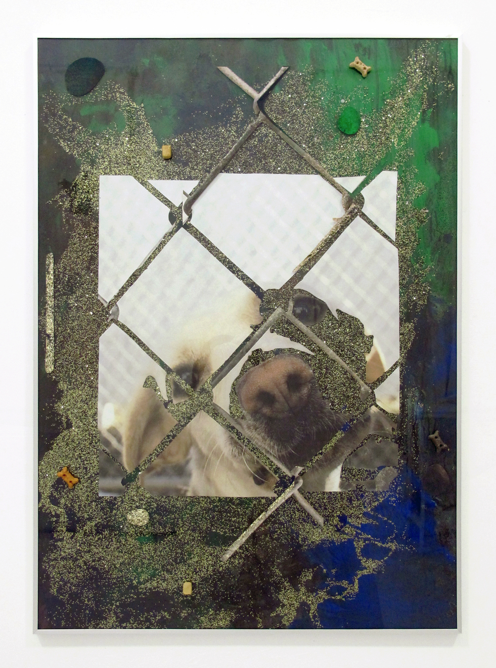 "A mixed breed dog at an animal shelter, 2014 acrylic, oil, glitter, dog treats, dirt, ink jet print, on paper in ikea frame 40.5 "" x 28.5 """