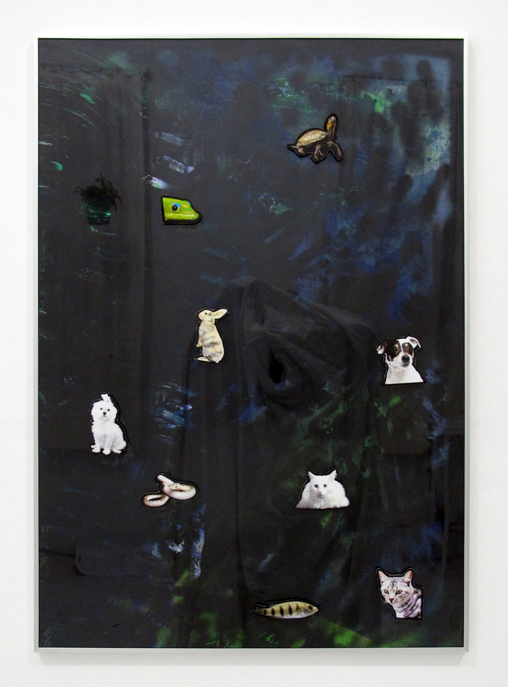 "Untitled (painting with magnets), 2014   acrylic, oil, ink jet print, magnets, on paper in ikea frame   40.5 "" x 28.5 """