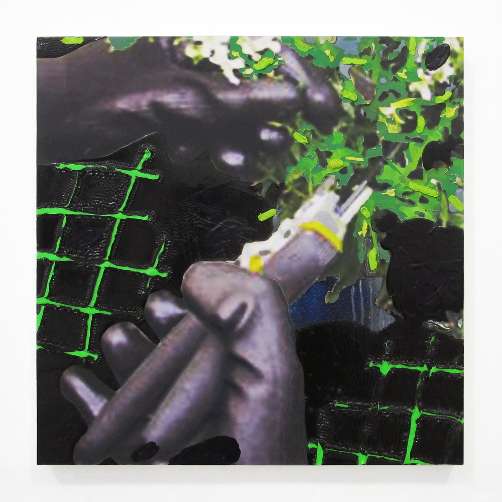 "Gardening Glove #3, 2013   oil, pencil, ink jet print, on panel   18 "" x 18 """