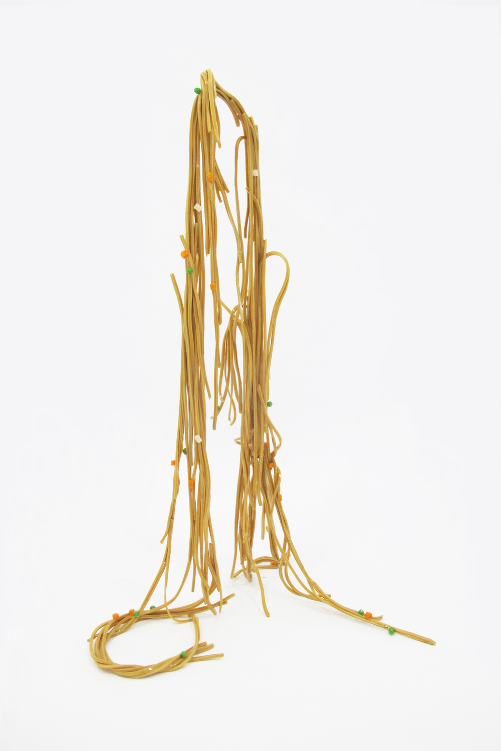 """Noodles (Vegetable Lo Mein), 2014  wax, shellac, acrylic, and steel  38"""" x 23"""" x 16"""""""