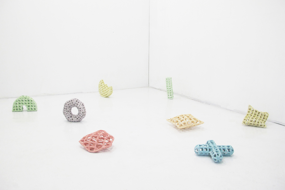 Cereal 1 - 8, 2014  wire, cereal, plaster  dimensions variable