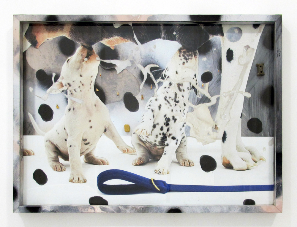 "Dalmatians and Mother, 2014  acrylic, oil, glitter, dog treats, ink jet print, on paper in ikea frame  18"" x 26"""