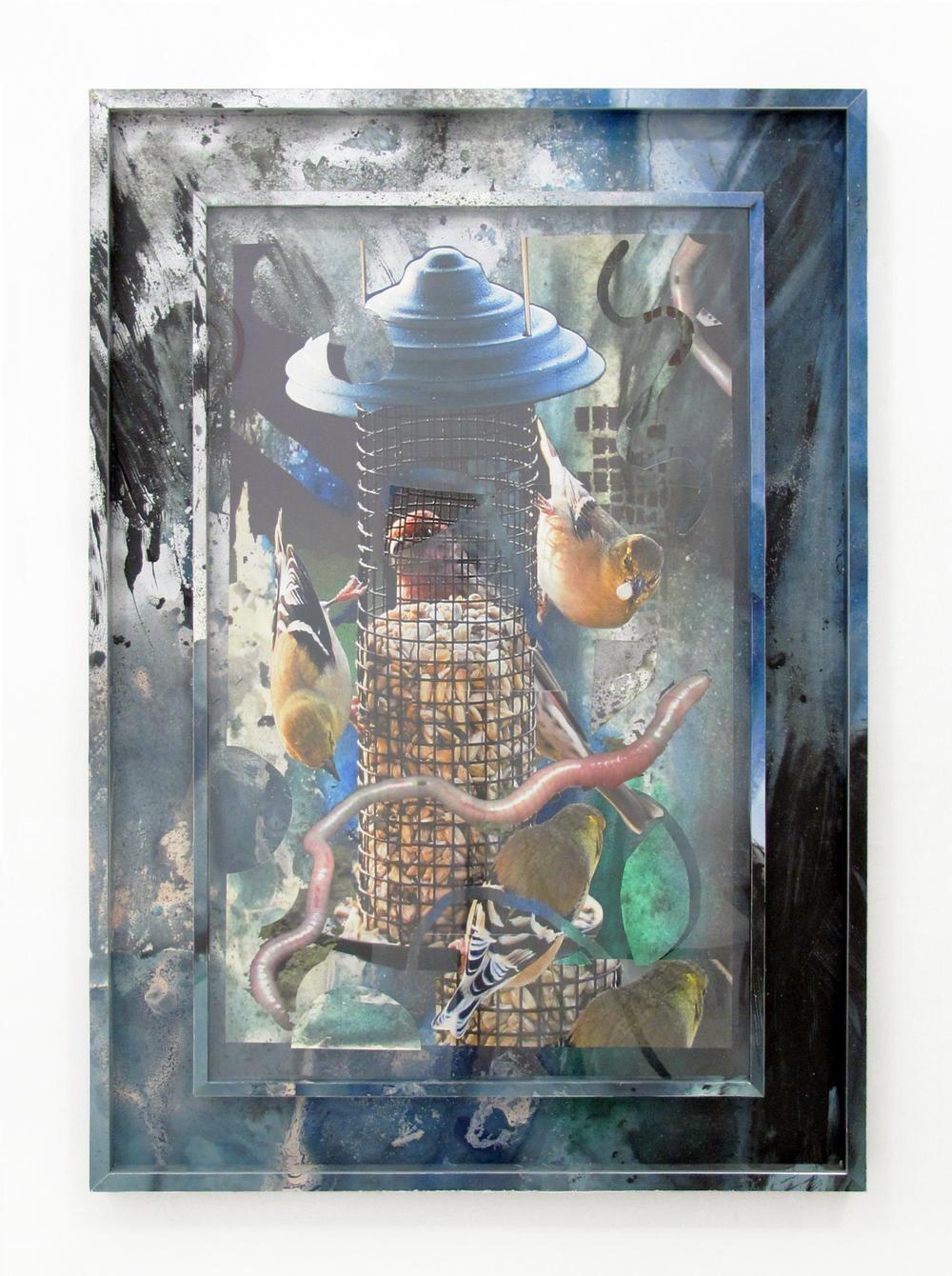 "Backyard Wonders 3, 2013  acrylic, oil, paper, ink jet print, wood, on ikea frame  40.5"" x 28.5"""