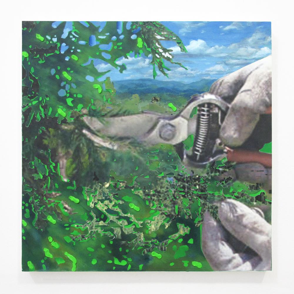 "Gardening Glove 1, 2013  oil, enamel, ink jet print, on panel  18"" x 18"""