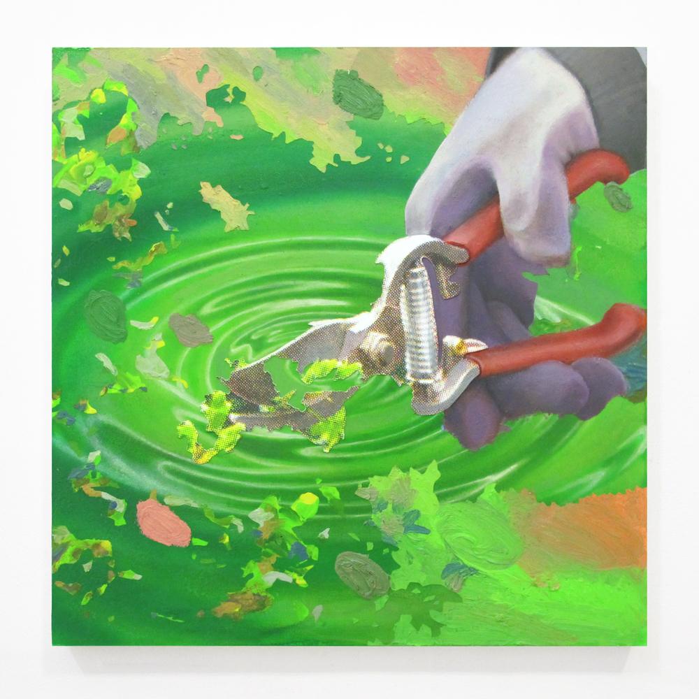 "Gardening Glove 4, 2013  oil, enamel, ink jet print, on panel  18"" x 18"""