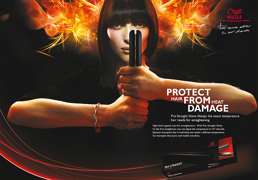 Ad concept for Wella Professionals, Pro-Straight hair straightening iron provides heat fighting powers.