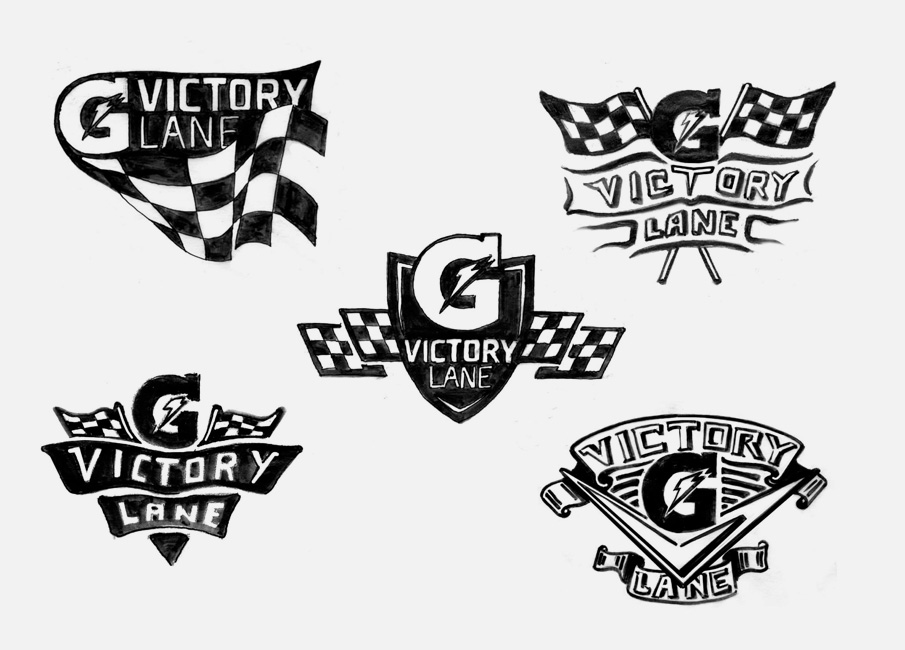 "Gatorade ""Victory Lane"" logo sketches from Joseph Kohlhas and I."