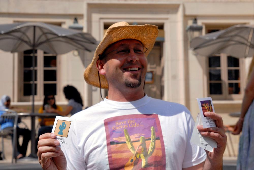 David Koberowski, hands out Cactus stickers, April 21, 2010. (5)