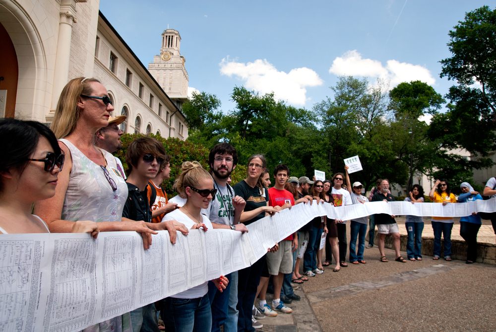 Cactus advocates display petition signatures in a scroll that stretched as long as a football field, April 21, 2010. (6)