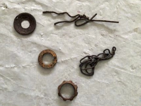 Five rusted metal pieces were selected from my stash.