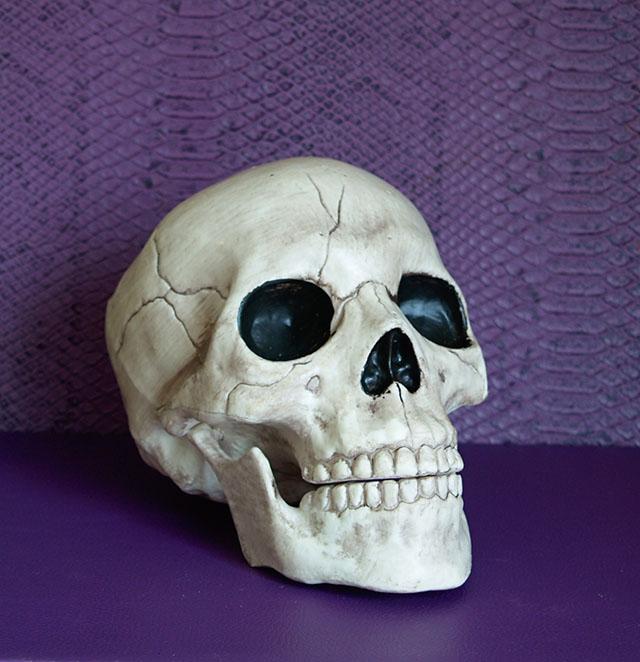 Zwykła plastikowa czaszka, jakich wiele teraz w sklepach...
