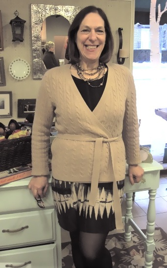 Day 11: cashmere wrap sweater and a fun necklace by L.A. Cano.