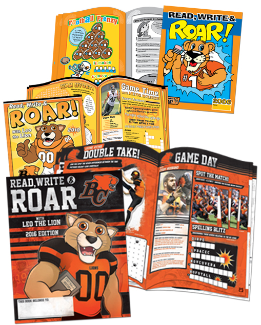 "Top to bottom: BC Lions' activity book examples from 2006, 2010, and 2016 show the evolution of their ""Read, Write & Roar"" activity books."