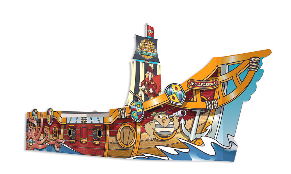 The all-new White Spot Pirate Ship has a fresh look, and features 3D augmented digital interactivity with animated characters and hidden games.