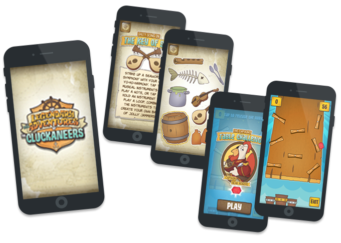 "The Legendary MisAdventures of the Cluckaneers App has both 3D augmented interactivity with the activity mat and Pirate Ship, as well as stand-alone games. Above, in-app music-making game ""The Key of Sea"" and ""Captain Beak's Table Challenge""."