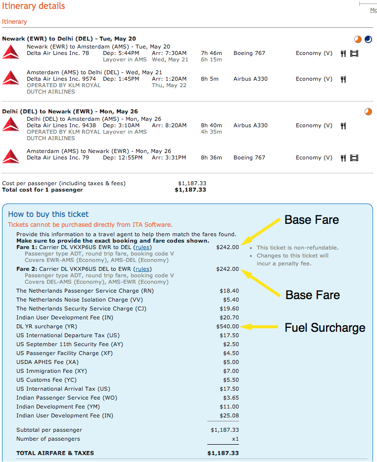 ITA Matrix (matrix.itasoftware.com) screenshot of a EWR to DEL roundtrip itinerary. ITA Matrix is one of the only travel search engines to show such a detailed price breakdown