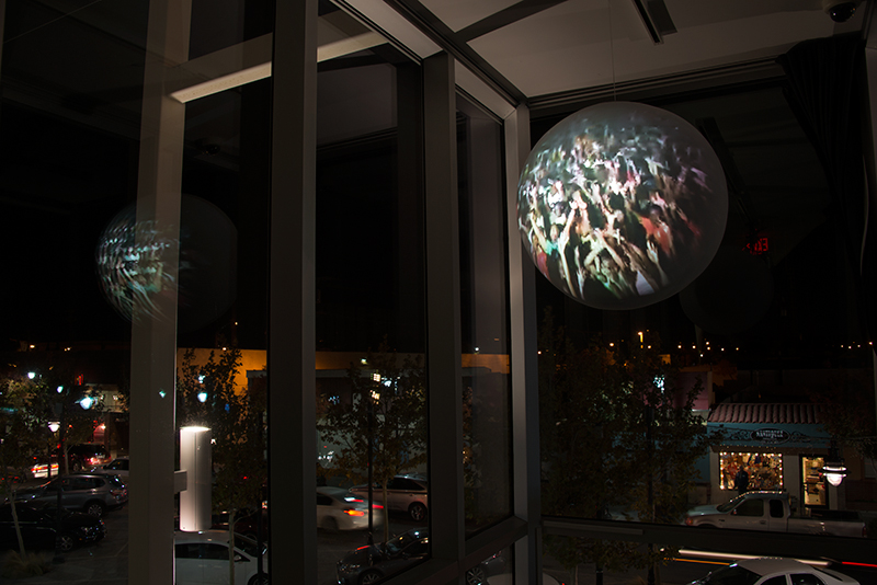 Installation View (Museum of Art & History, Lancaster, 2015)   Almost Always,  2013 Single Channel HD Video Projection onto Sphere with Sound, TRT 5:20, Looping 36 inch Diameter Sphere